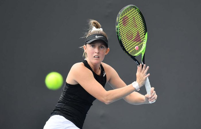 DETERMINED: Storm Sanders competing during the AO Wildcard Play-off in December 2019. Picture: Tennis Australia
