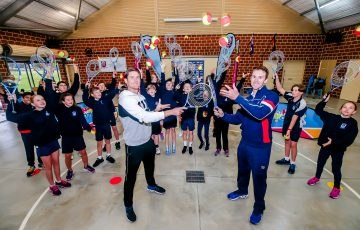 Australian players Matthew Ebden and John Peers visited Duncraig Primary School in Perth this week. Picture: Tennis Australia