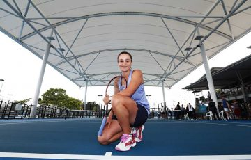 Ash Barty helps launch the new roof structure at the Cairns International Tennis Centre.