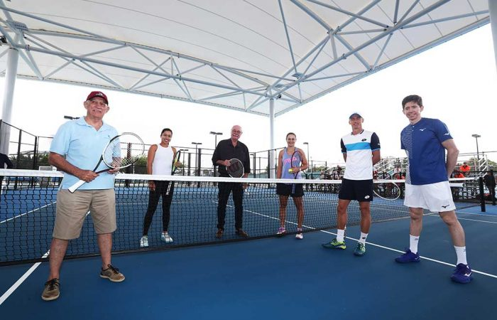 Mayor Bob Canning, Lizette Cabrera, MP Warren Entsch, world No.1 Ash Barty, John Millman and JP Smith under the new roof at the Cairns International Tennis Centre.
