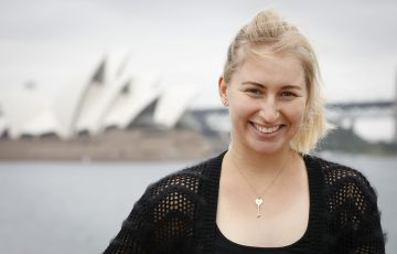 HAPPY: Daria Gavrilova on Sydney Harbour in early 2019. Picture: Getty Images
