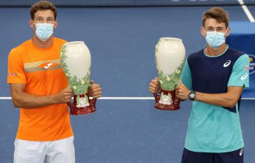 CHAMPIONS: Spain's Pablo Carreno Busta and Australia's Alex de Minaur with their trophies. Picture: Getty Images
