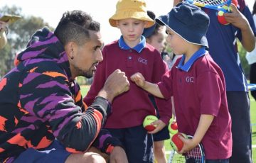 Nick Kyrgios at a school visit in Canberra. Picture: Twitter