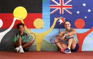 Tennis player Ash Barty visits Edge Hill State School in Cairns ,Queensland Australia July 31 2020. Photograph : Jason O'Brien / Tennis Australia