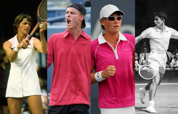 Margaret Court, Lleyton Hewitt, Sam Stosur and Ken Rosewall are all celebrating US Open anniversaries this year. Pictures: Getty Images
