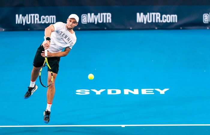Aleksandar Vukic in action at the UTR Pro Tennis Series in Sydney. Picture: Tennis Australia