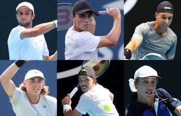Australians Aleksandar Vukic, Christopher O'Connell, Andrew Harris, Max Purcell, Alex Bolt and Marc Polmans will compete in French Open qualifying. Pictures: Getty Images