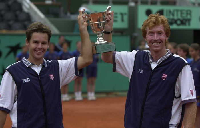 CHAMPIONS: Todd Woodbridge and Mark Woodforde celebrate their Roland Garros win in 2000. Picture: Getty Images