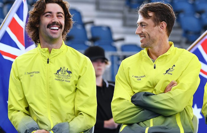 Jordan Thompson and John Millman share a laugh at a Davis Cup tie in Adelaide earlier this year. Picture: Getty Images