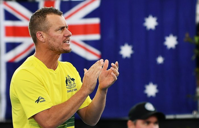 Lleyton Hewitt at a Davis Cup tie in Adelaide in March. Picture: Getty Images