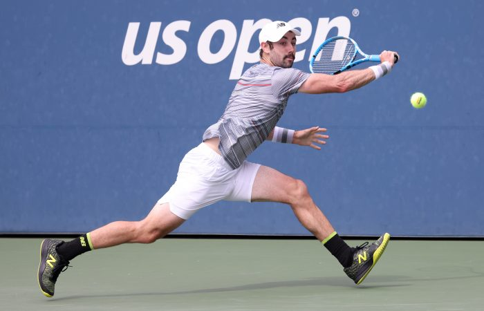 IN ACTION: Jordan Thompson during his first round win at the US Open. Picture: Getty Images