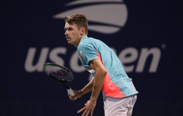 Alex de Minaur during his first round win at the US Open. Picture: Getty Images