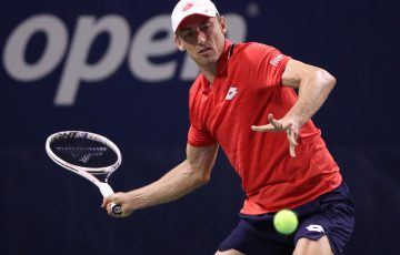 FOCUSED: John Millman lines up a forehand in his first round win at the US Open today. Picture: Getty Images