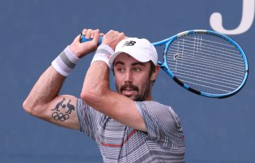 PROUD AUSSIE: Jordan Thompson in second round action at the US Open. Picture: Getty Images