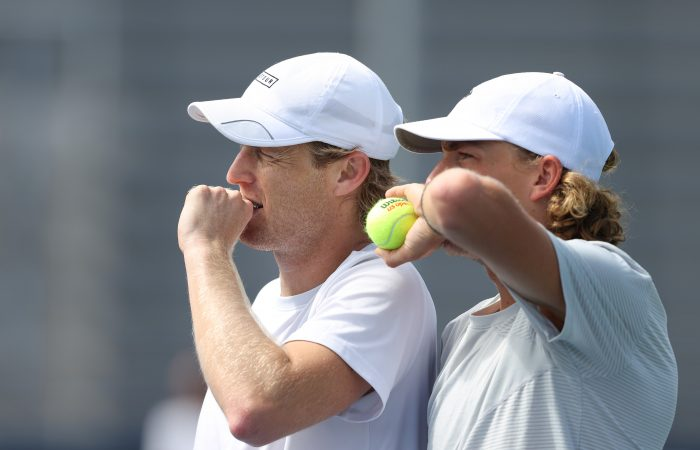 Luke Saville and Max Purcell talk tactics at the US Open earlier this month. Picture: Getty Images