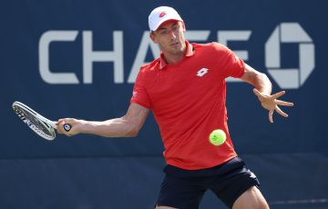 FOCUSED: John Millman lines up a forehand during his second round match at the US Open. Picture: Getty Images