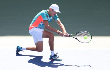 IN FORM: Alex de Minaur during his US Open fourth round win. Picture: Getty Images
