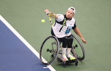 UNDER PRESSURE: Dylan Alcott in action during the US Open final. Picture: Getty Images