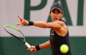 FOCUSED: Astra Sharma lines up a forehand during her first round win at Roland Garros. Pictures: Getty Images