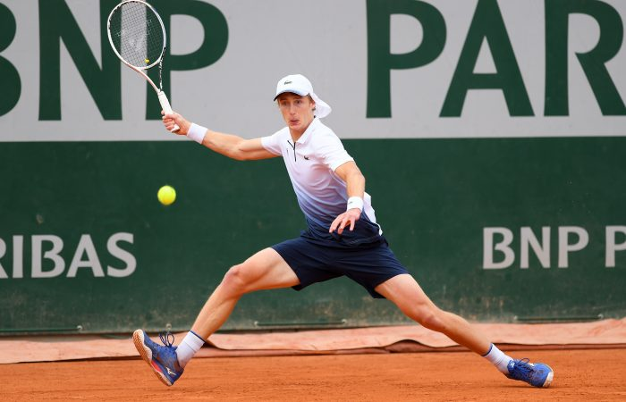 BIG WIN: Marc Polmans stretches for a forehand during his first round win at Roland Garros. Picture: Getty Images