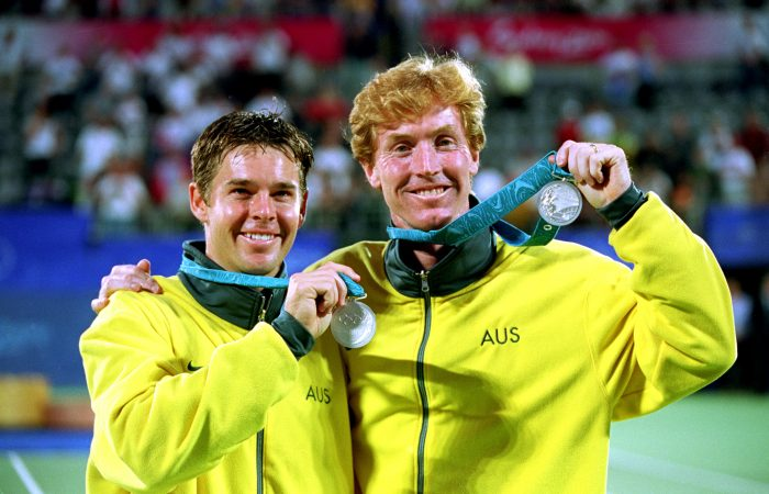 Australia's Todd Woodbridge and Mark Woodforde with their Olympic silver medals won in Sydney in 2000. Picture: Getty Images