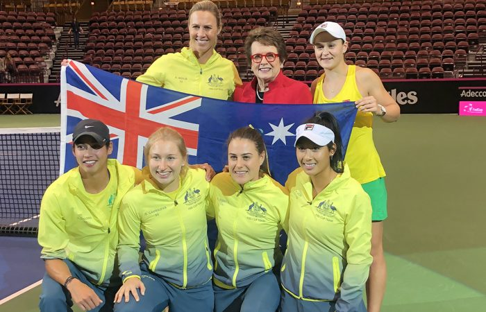 Billie Jean King with the Australian Fed Cup team in February 2019.