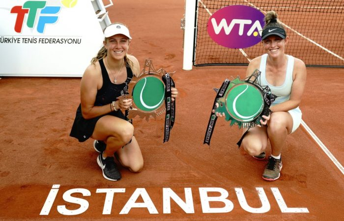 FINALISTS: Ellen Perez and Storm Sanders with their runners-up trophies in Istanbul. Picture: Twitter