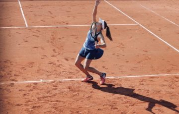 Ellen Perez serves during Strasbourg qualifying. Picture: Twitter