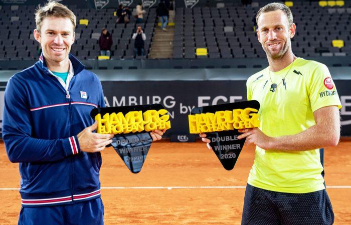 CHAMPIONS: John Peers and Michael Venus celebrate their Hamburg title win. Picture: Twitter