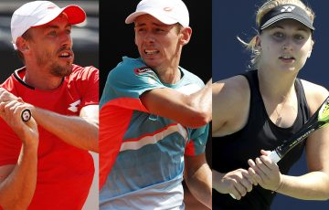 AUSSIE HOPES: John Millman, Alex de Minaur and Daria Gavrilova. Pictures: Getty Images