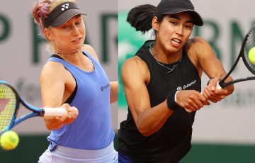 OUT: Daria Gavrilova and Astra Sharma during their second round losses at Roland Garros. Pictures: Getty Images