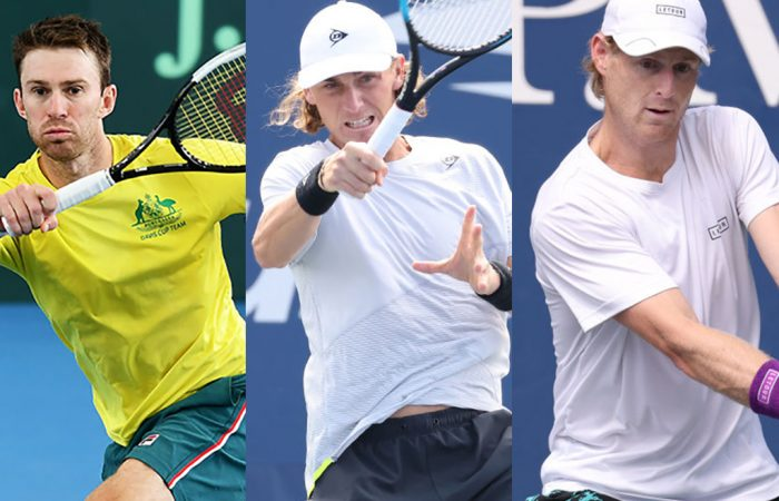 Australians John Peers, Max Purcell and Luke Saville are all currently ranked inside the world's top 40 in doubles. Pictures: Getty Images