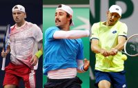 AUSSIES IN ACTION: James Duckworth, Jordan Thompson and John Millman. Pictures: Getty Images