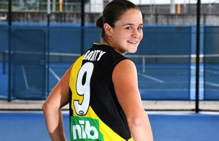 Ash Barty is a passionate Richmond supporter. Picture: Twitter