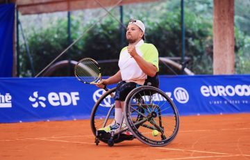 CHAMPION: Dylan Alcott celebrates his singles win at the French Riviera Open. Picture: Gregory Picoud, Twitter