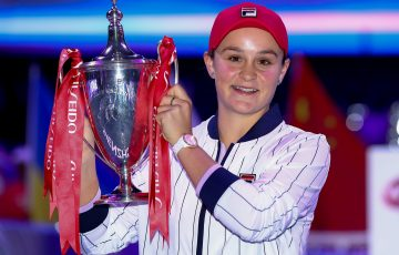 CHAMPION: Ash Barty celebrates her WTA Finals triumph in 2019. Picture: Getty Images