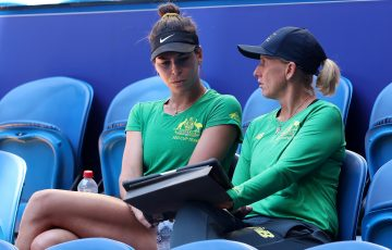 COACH: Nicole Pratt talks tactics with Ajla Tomljanovic at a Billie Jean King Cup tie. Picture: Getty Images