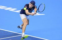 Australia's Alex de Minaur reaches for a backhand in his second-round win in Antwerp. Picture: Getty Images