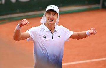 WINNER: Marc Polmans  celebrates his first round victory at Roland Garros. Picture: Getty Images