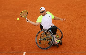CHAMPION: Dylan Alcott lines up a forehand during the singles final at Roland Garros. Picture: Getty Images