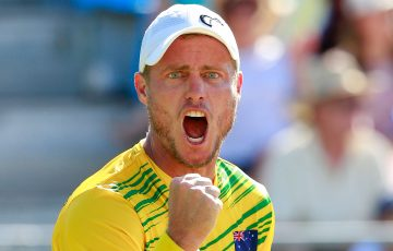 C'MON: Lleyton Hewitt celebrates during a Davis Cup tie in 2015. Picture: Getty Images