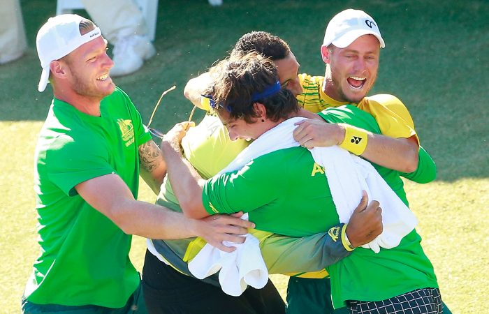 VICTORY: Sam Groth, Thanasi Kokkinakis, Nick Kyrgios and Lleyton Hewitt celebrate Australia's Davis Cup quarterfinal win in Darwin in 2015. Picture: Getty Images