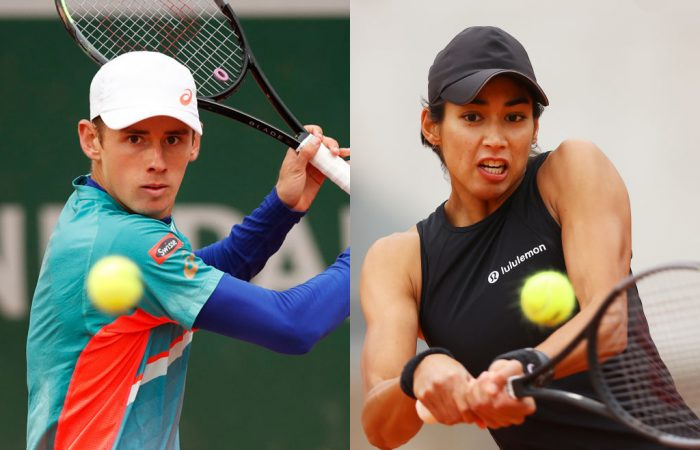 GREAT EXAMPLES: Alex de Minaur and Astra Sharma have attitudes all players can learn from. Pictures: Getty Images