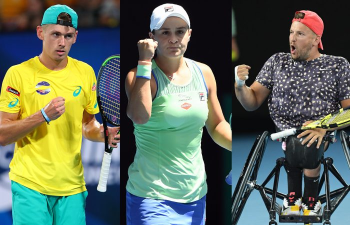 LEADERS: Alex de Minaur, Ash Barty and Dylan Alcott are role models both on and off the court with their approaches. Pictures: Getty Images