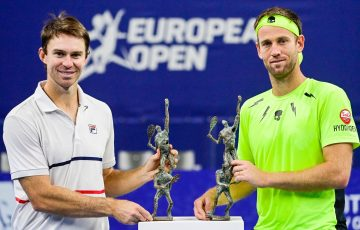 CHAMPIONS: John Peers and Michael Venus celebrate their doubles win at the European Open in Antwerp. Picture: Twitter