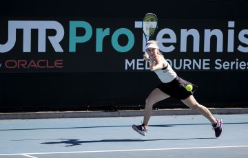 ON THE RUN: Daria Gavrilova competing at the UTR Pro Tennis Series in Melbourne. Picture: Tennis Australia