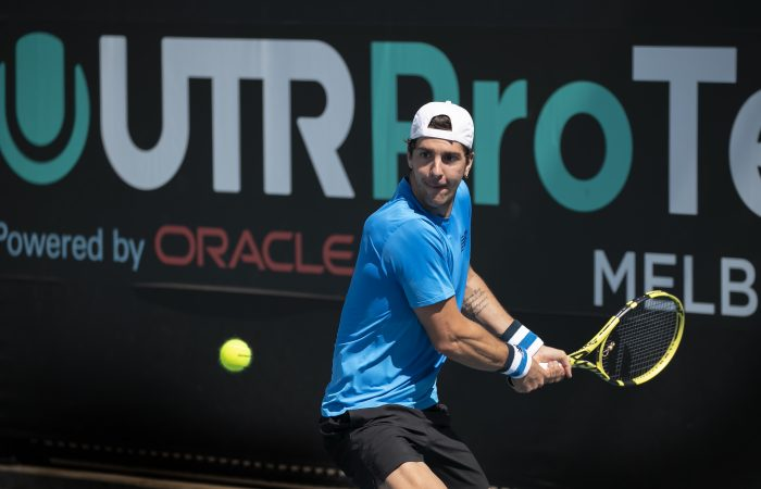 BACK ON COURT: Thanasi Kokkinakis lines up a backhand during the UTR Pro Tennis Series in Melbourne. Picture: Tennis Australia