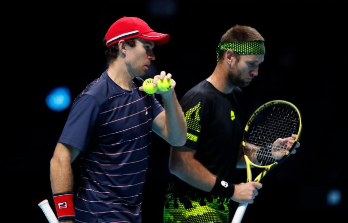 TALKING TACTICS: John Peers and Michael Venus at the ATP Finals in London. Picture: Getty Images