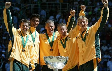 CHAMPIONS: Todd Woodbridge, Mark Philippoussis, captain John Fitzgerald, Lleyton Hewitt and Wayne Arthurs celebrate their Davis Cup victory in 2003. Picture: Getty Images