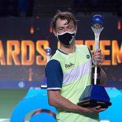 John Millman lifts the Astana Open trophy; image  courtesy Kazakhstan Tennis Federation